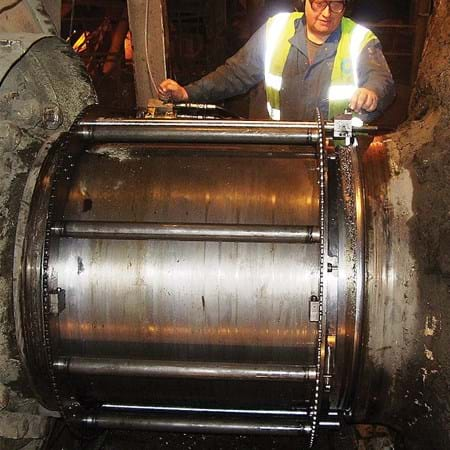 "Metalock Engineering Photo - 36"" diameter baring journal during recovery"