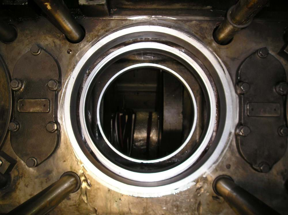 Marine diesel cylinder repair after machining