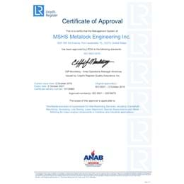 Lloyd's certification to MSHS Metalock