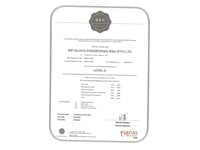 Broad based black economic empowerment verification certificate